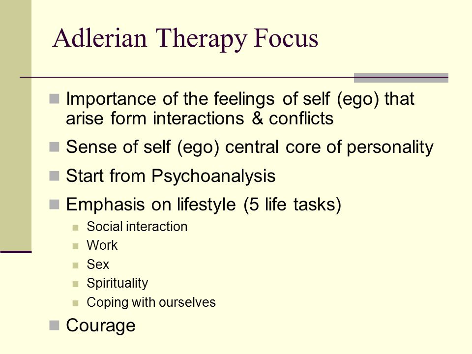 adlerian therapy What is an adlerian alfred adler, a psychiatrist in vienna in the late 1800's, was a member of freud's vienna circle until he and several other members of the.