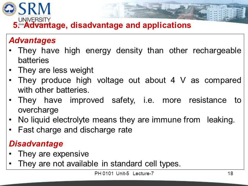 Ph0101 unit 5 lecture 7 introduction types of battery for Avantage batterie lithium ion
