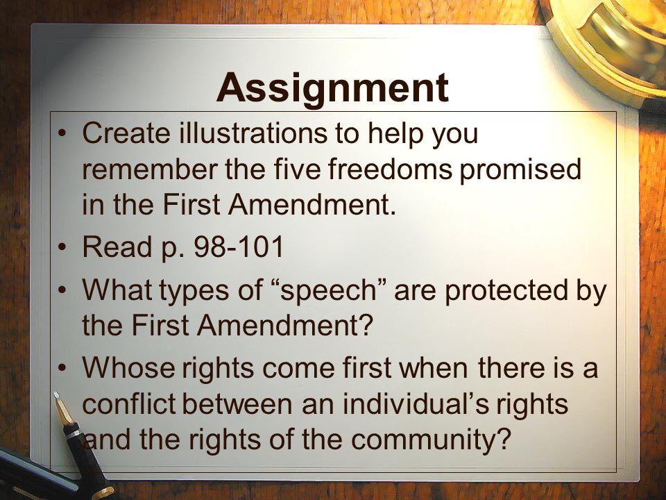 Assignment Create illustrations to help you remember the five freedoms promised in the First Amendment.