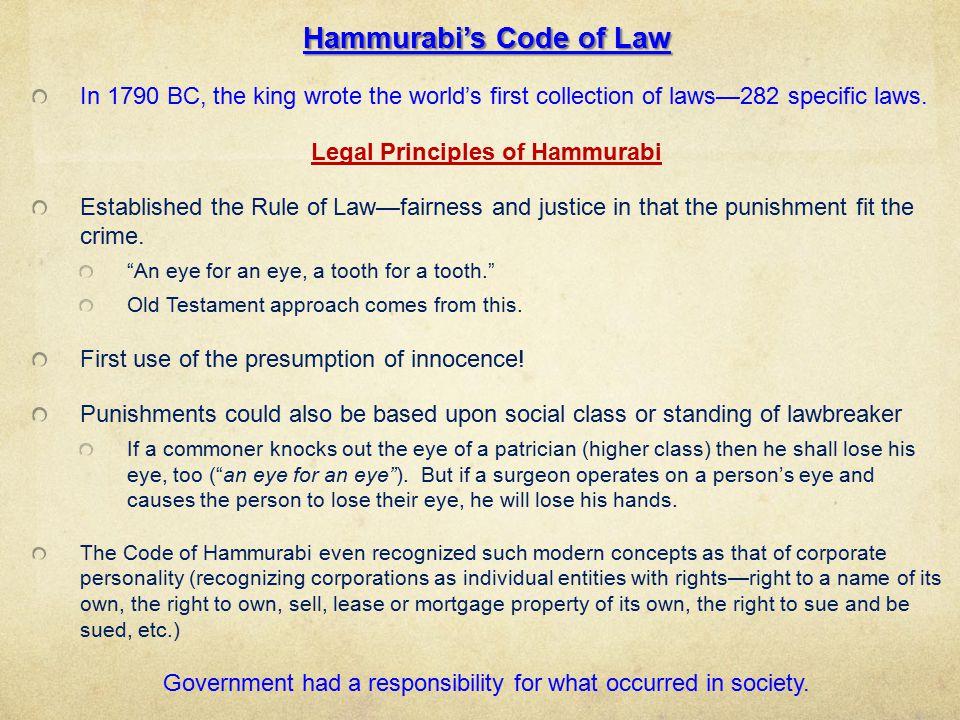 individual rights code of hammurabi The code of hammurabi (also known as the codex hammurabi and hammurabi's code) (or shepherding), property damage, women's rights, marriage rights, children's.