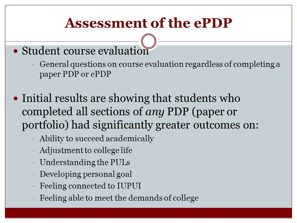 Assessment of the ePDP Student course evaluation