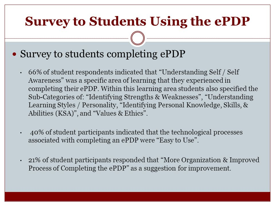 Survey to Students Using the ePDP