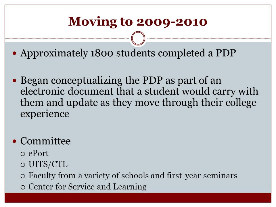 Moving to Approximately 1800 students completed a PDP