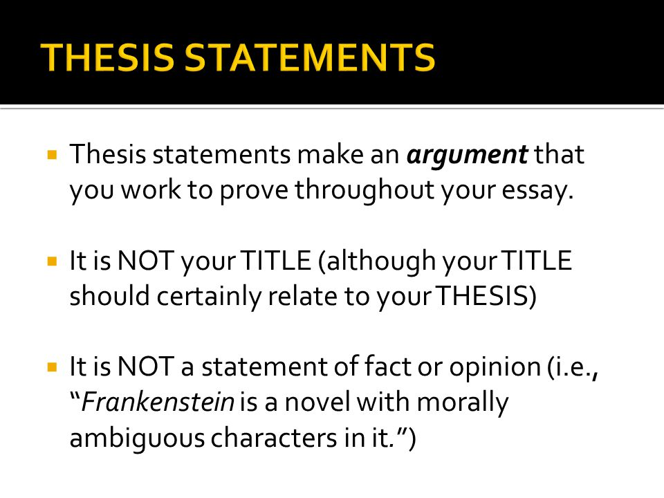 proving your thesis statement