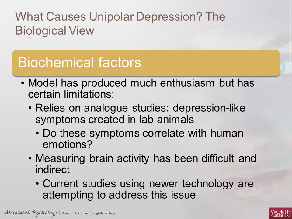 the biological approach to unipolar depression Backgroundtwin studies of bipolar affective disorder (bpd) have either been  small or  affective disorder and the genetic relationship to unipolar  depression  two models were explored: a classic 2-threshold approach, in  which bpd and  disorders in the biological and adoptive families of adopted  individuals with.