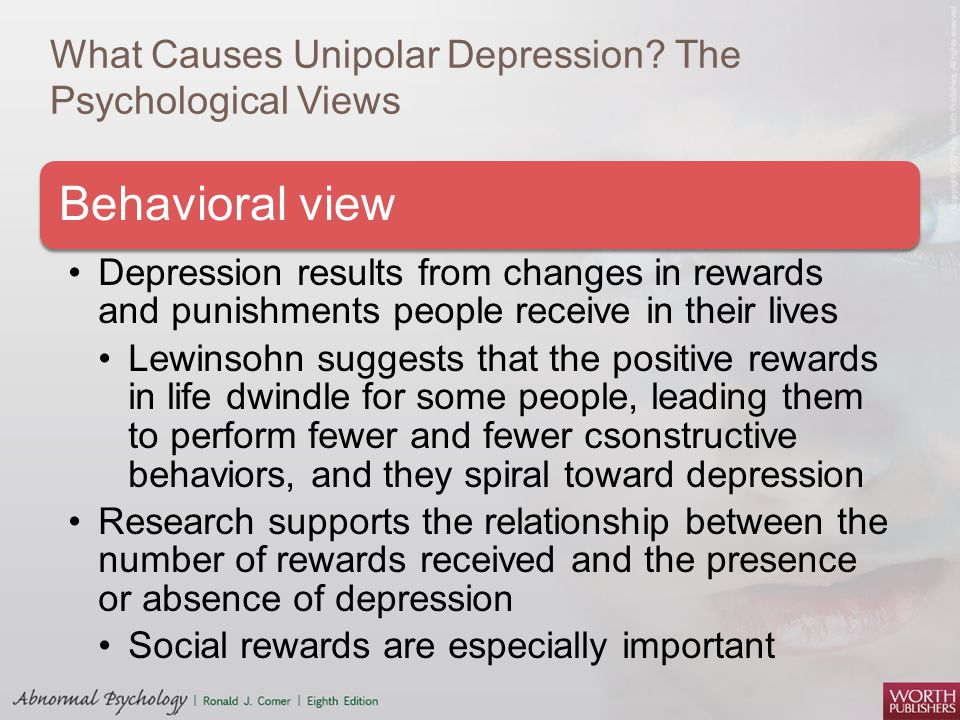 the issues of the depression in the psychological research The majority of mental health problems the 1970s for anxiety and depression, until dependency problems curtailed and psychology led to new research.
