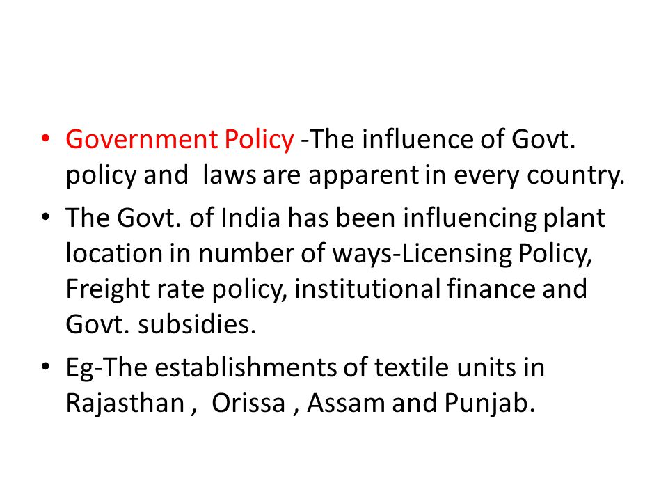 the influence of government on country industries Government economic policy, measures by which a government attempts to influence the economythe national budget generally reflects the economic policy of a government, and it is partly through the budget that the government exercises its three principal methods of establishing control: the allocative function, the stabilization function, and the distributive function.