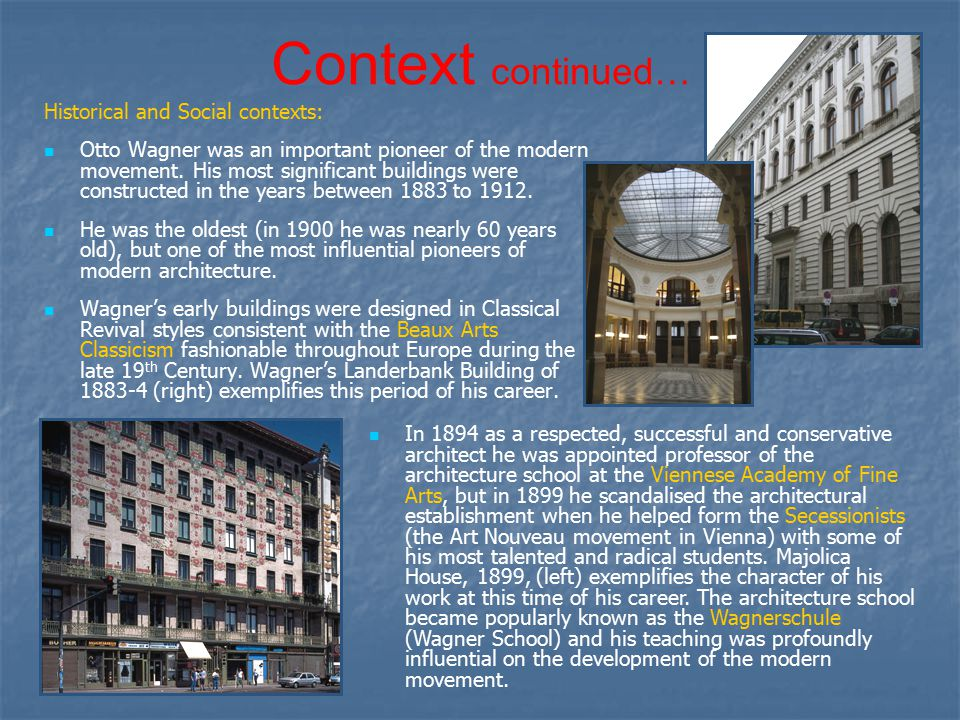 """Pioneers Of Modern Architecture otto wagner """"…in his theory and in his building [wagner] remains"""
