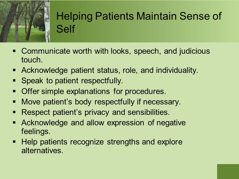 Helping Patients Maintain Sense of Self