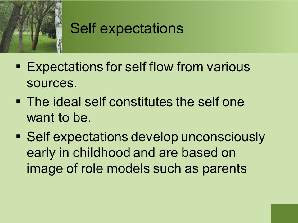 Self expectations Expectations for self flow from various sources.