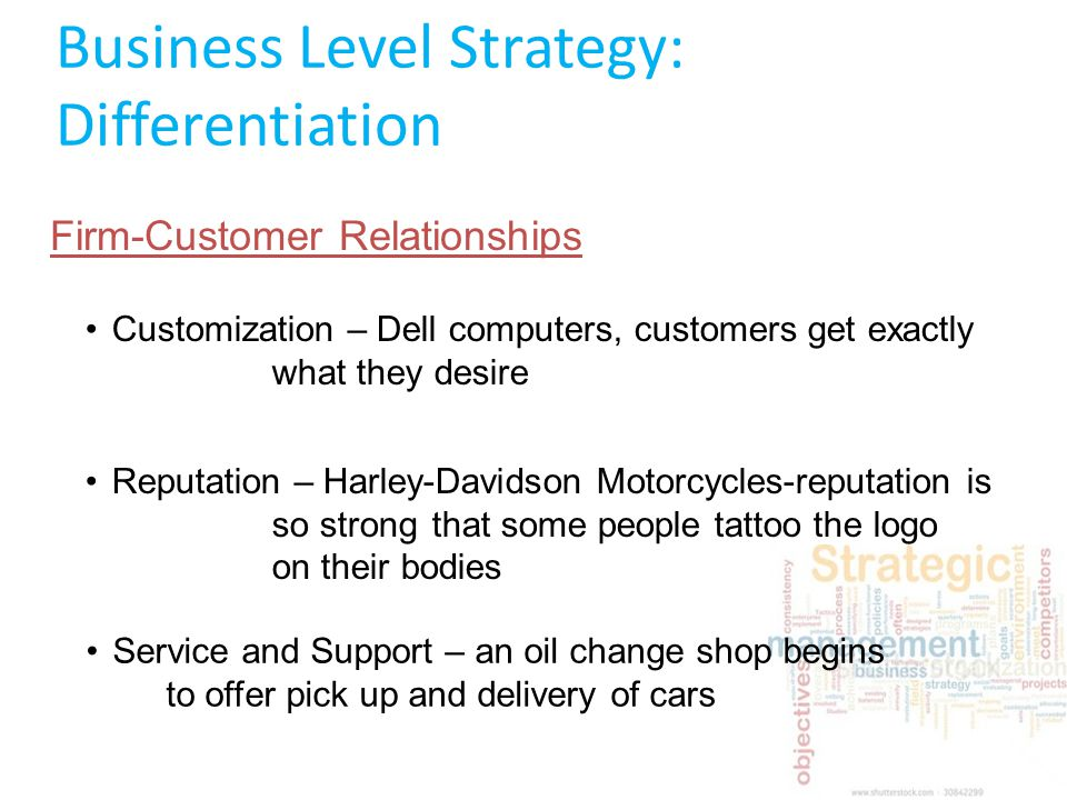 dell com differentiation strategy Business level strategy: cost and differentiation advantage differentiation vs cost yum brands 981 dell computer 430.