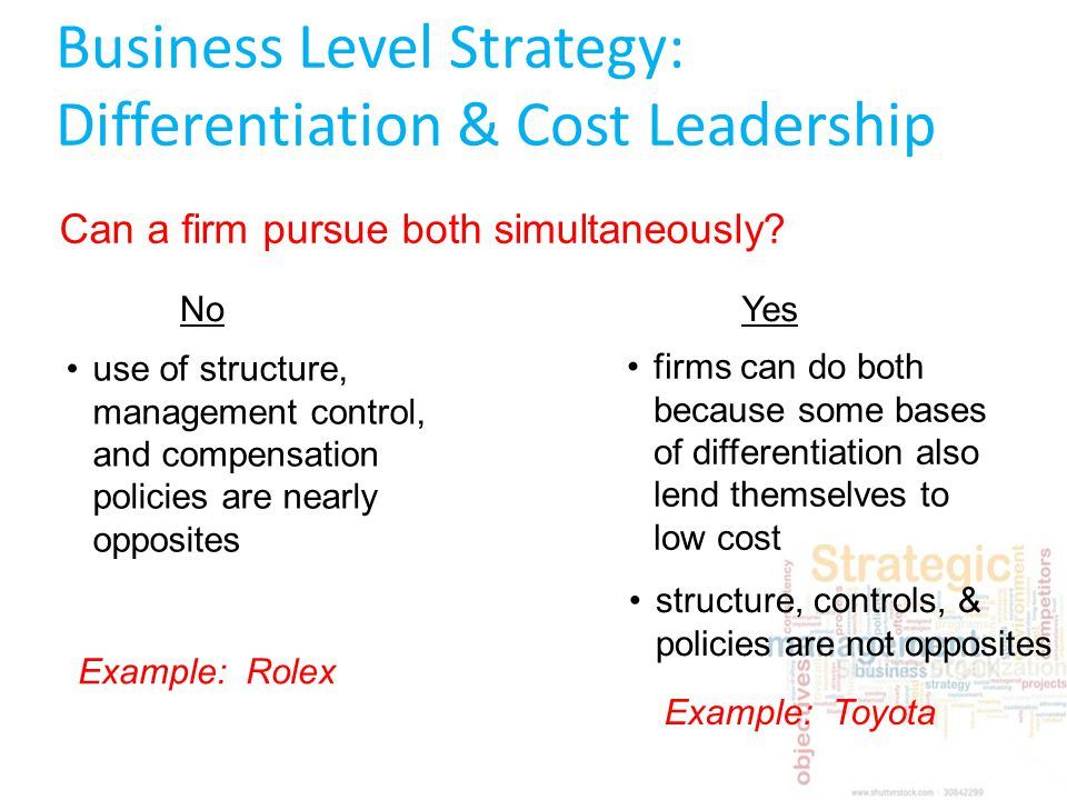 companies that operate both cost leadership strategy and differentiation Answer to explain how a company can have a successful business strategy based on both the cost leadership and differentiation stra.