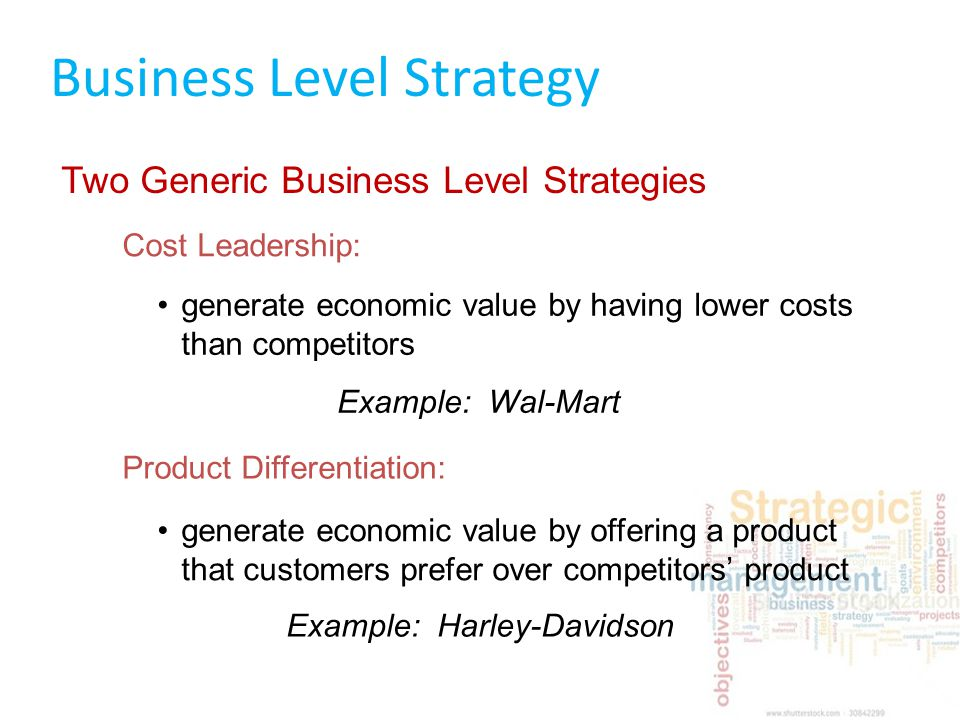 differentiation as a generic strategy Integrated cost leadership-differentiation strategy companies that integrate strategies rather than relying on a single generic strategy are able to adapt quickly and learn new technologies.