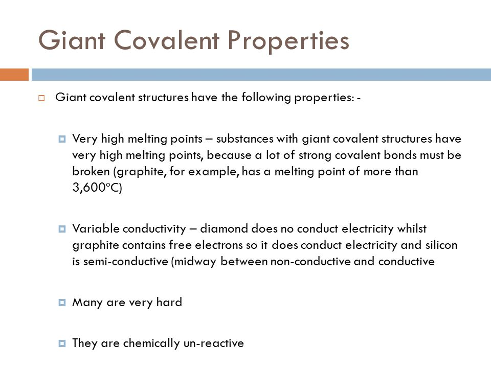 GIANT COVALENT COMPOUND PROPERTIES - ppt download