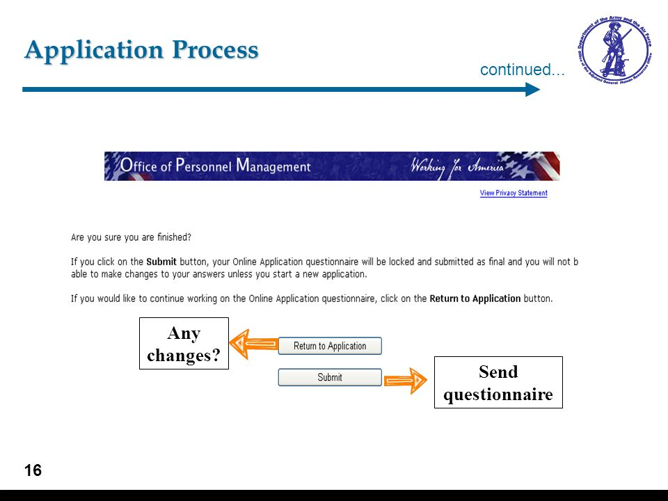 Application Process – Questionnaire
