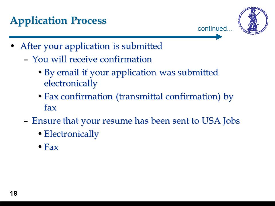 Application Process continued...  confirmation of receipt