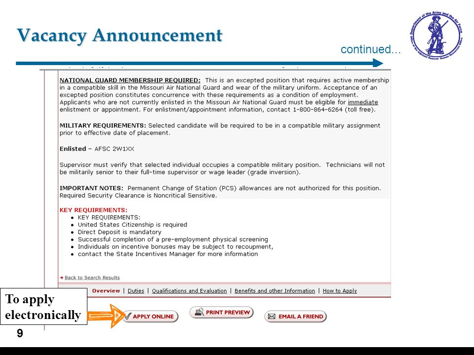 Vacancy Announcement continued... Vacancy Announcement view