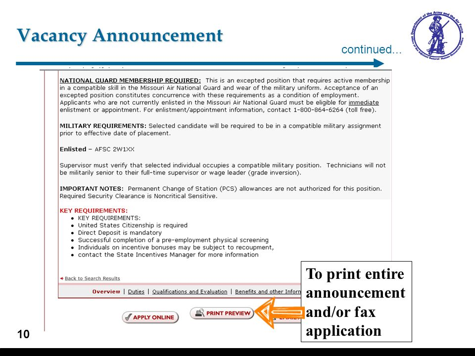 Vacancy Announcement To apply electronically continued...