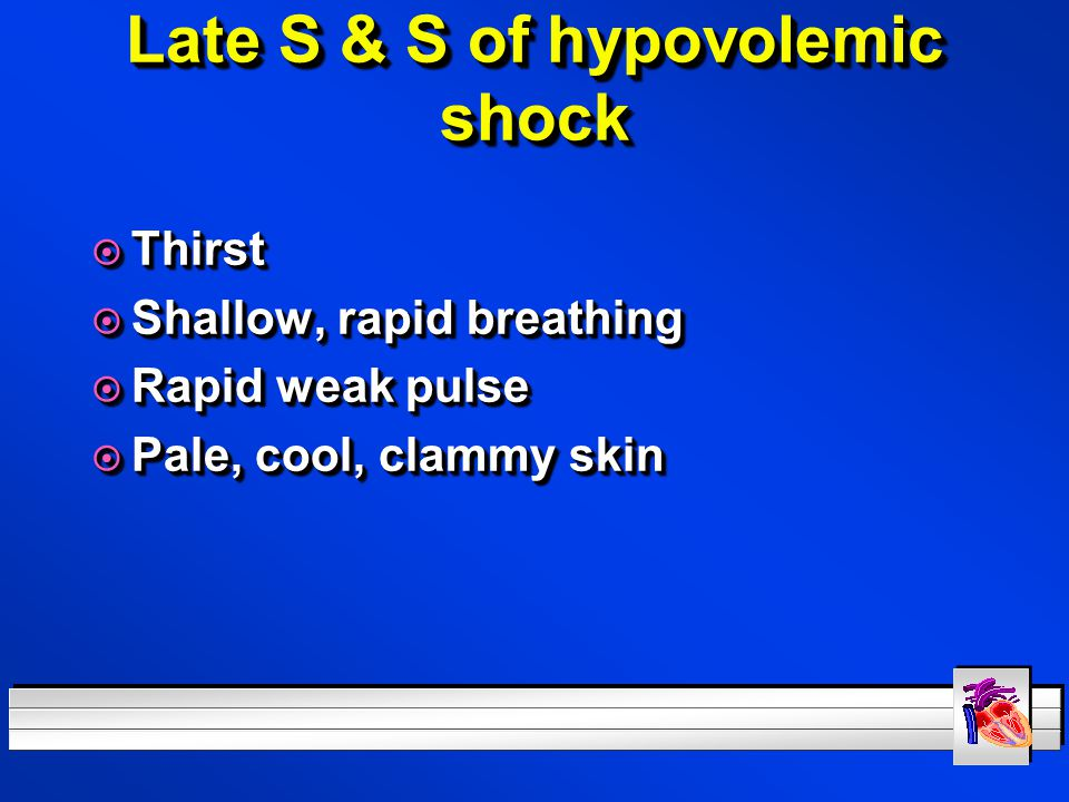 Late S & S of hypovolemic shock