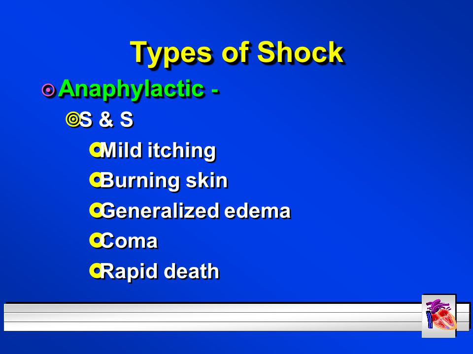 Types of Shock Anaphylactic - S & S Mild itching Burning skin