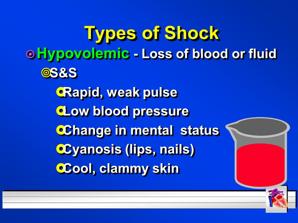 Types of Shock Hypovolemic - Loss of blood or fluid S&S