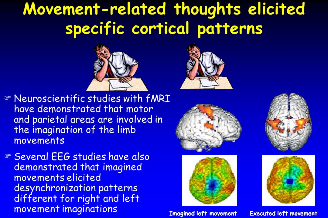 Movement-related thoughts elicited specific cortical patterns