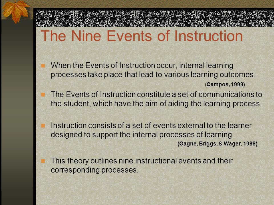 gagne 9 events of instruction pdf