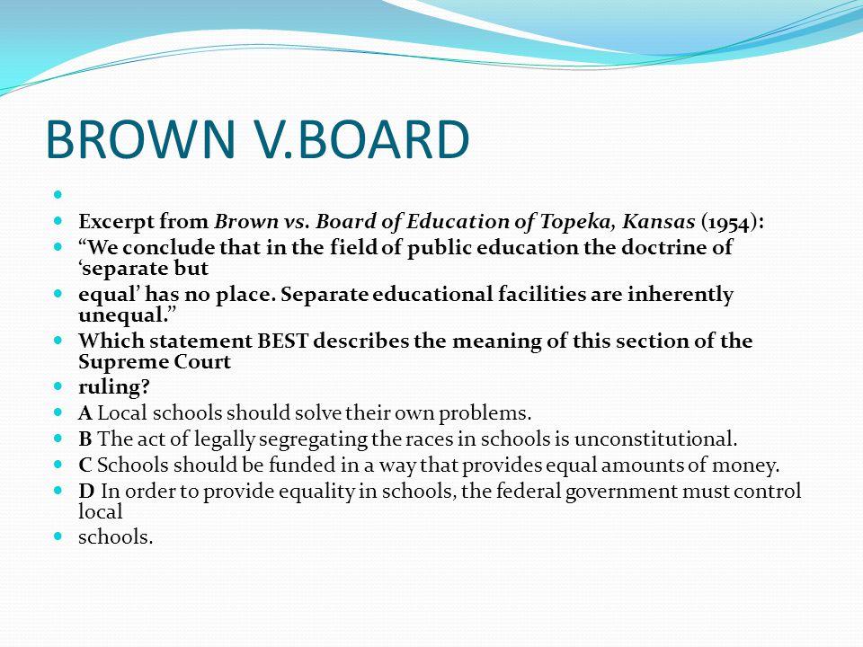 brown v board of education of topeka kansas 1954 Us supreme court brown v board of education of topeka, 347 us 483 (1954) brown v board of education of topeka argued december 9, 1952 reargued december 8, 1953.