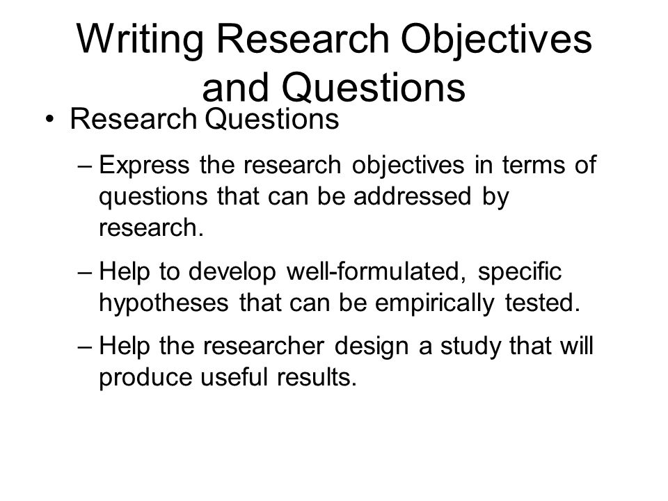 guidelines in writing research objectives