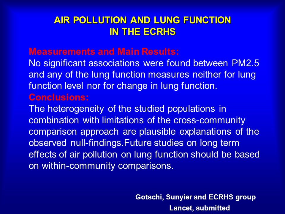 AIR POLLUTION AND LUNG FUNCTION IN THE ECRHS