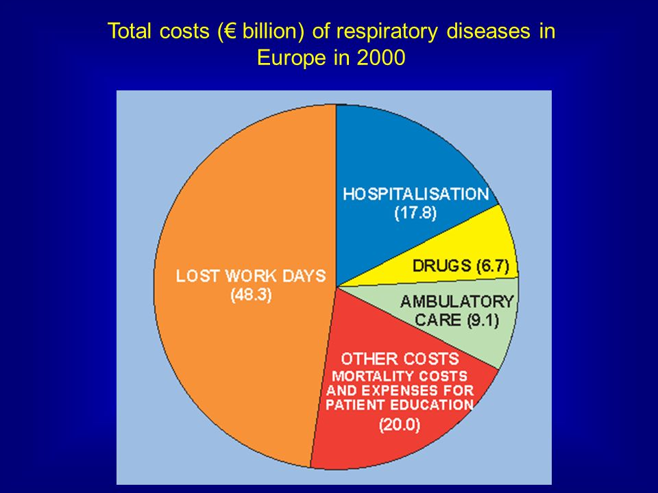 Total costs (€ billion) of respiratory diseases in Europe in 2000