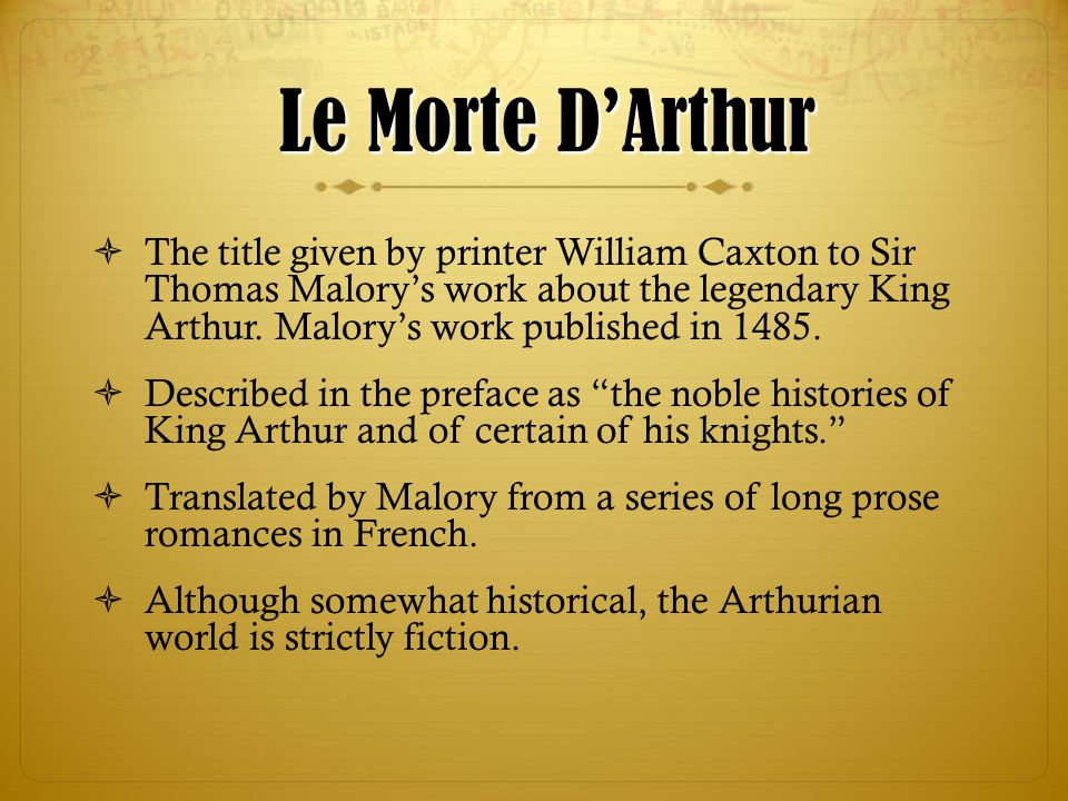 le morte d arthur heroes journey king arthur malory Category: compare contrast hero literature title: arthur versus beowulf: a   there are many things that are different about beowulf and king arthur, but the  ones  compared to malory's le morte d'arthur have movies lost sight of what  the.