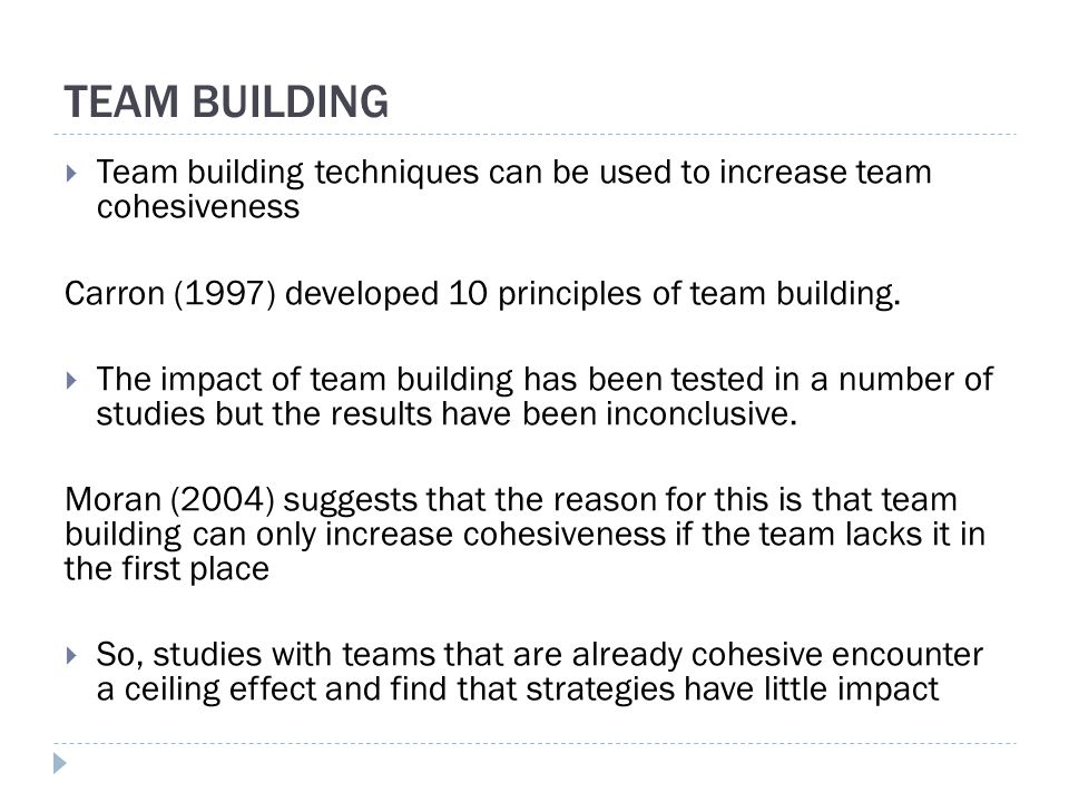 the effect of team building and Title: effects of team building and goal setting on productivity: a field experiment created date: 20160730233615z.