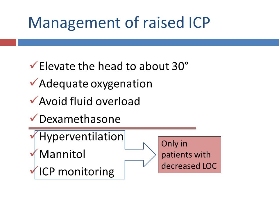 Management of raised ICP