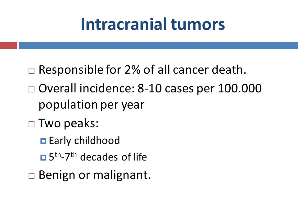 Intracranial tumors Responsible for 2% of all cancer death.