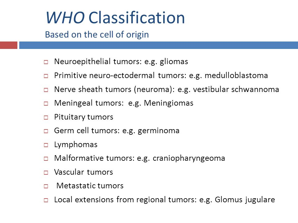 WHO Classification Based on the cell of origin