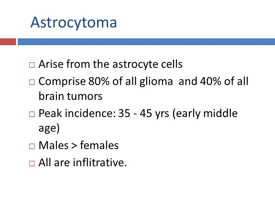 Astrocytoma Arise from the astrocyte cells