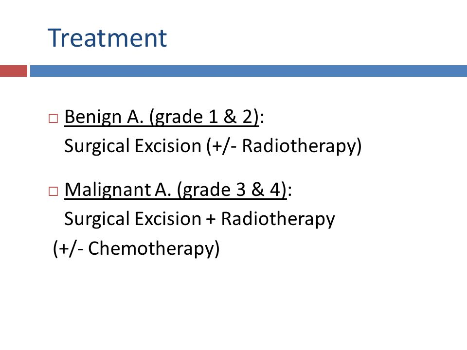 Treatment Benign A. (grade 1 & 2):