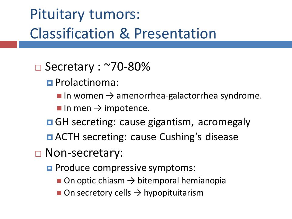 Pituitary tumors: Classification & Presentation