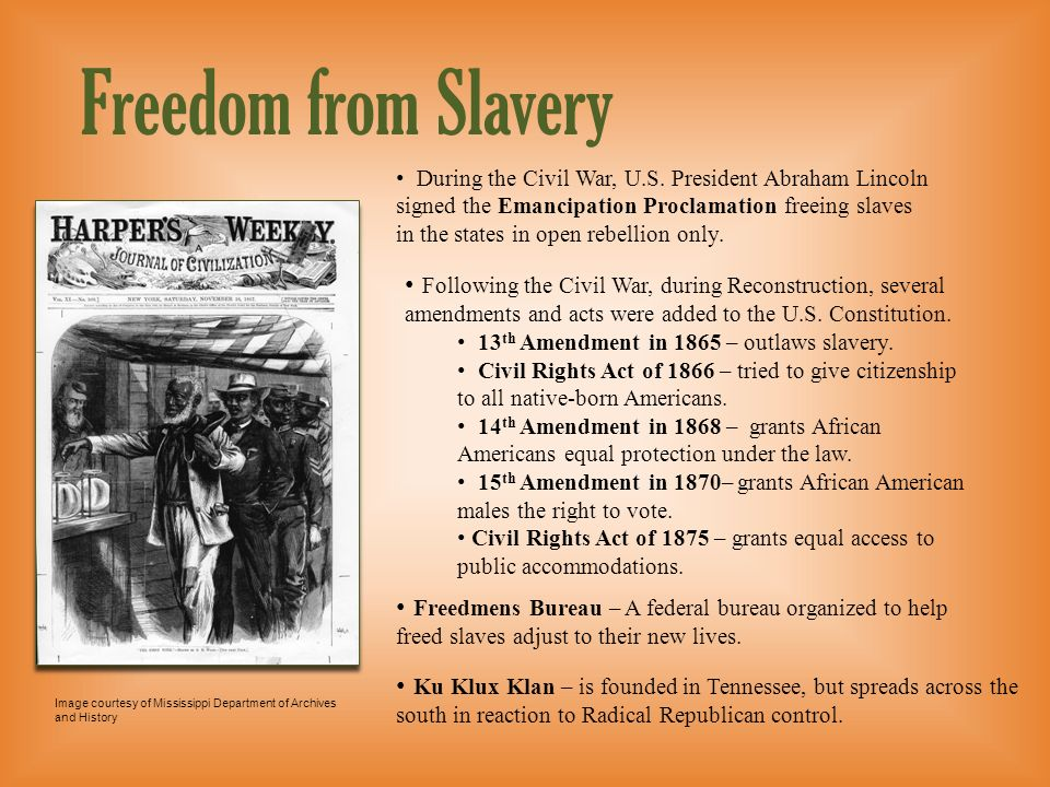 Level 2 presentationFreedom from Slavery.