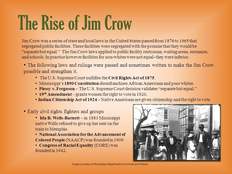 Level 2 presentationThe Rise of Jim Crow.