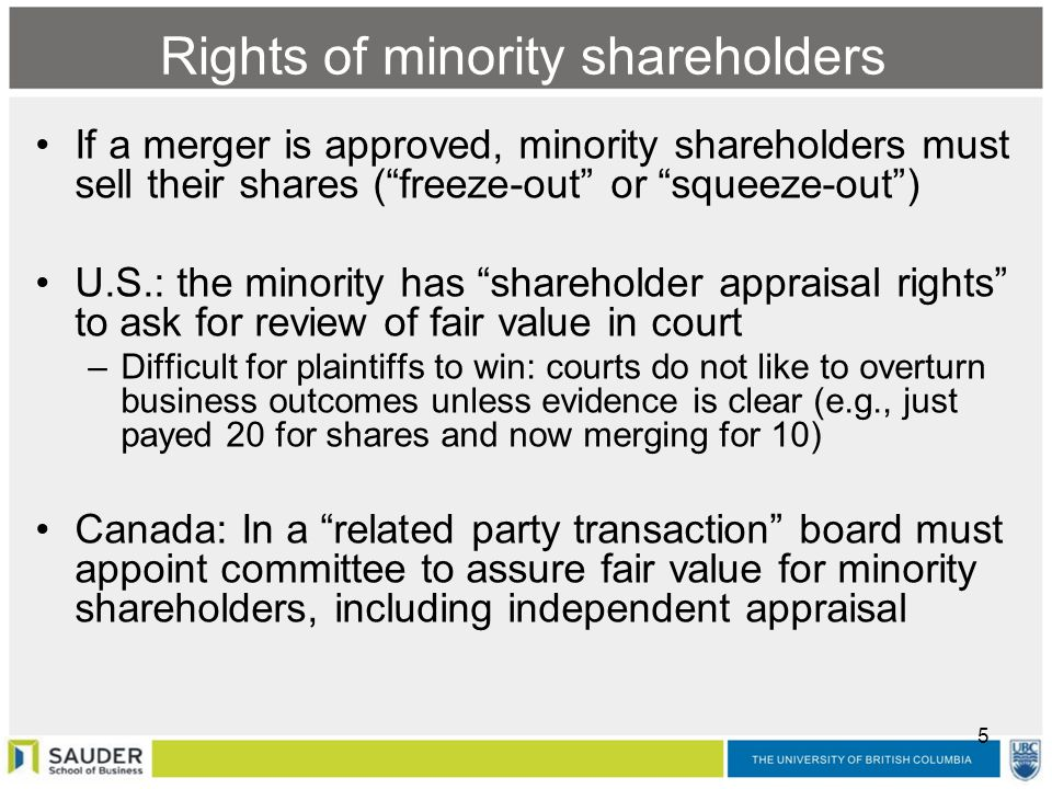 minority shareholder rights case In certain cases this minority shareholder right can be exercised directly against a shareholder, without having to go against a corporation or through the derivatives action process2 in such case a proper balance of the rights of majority and minority shareholders is essential for the smooth functioning of the company.