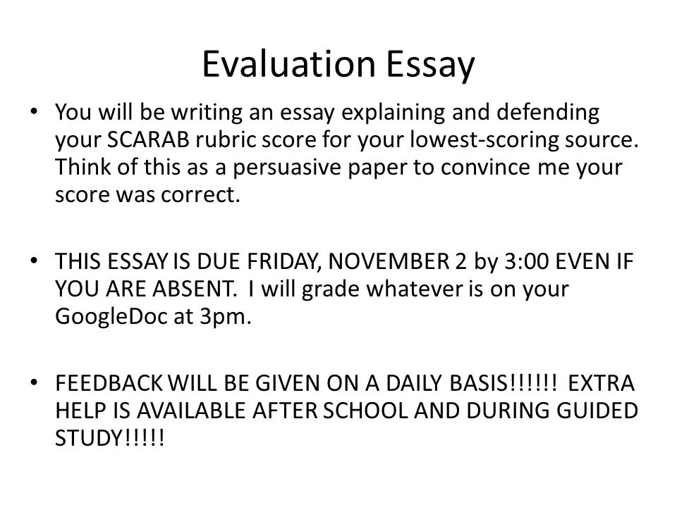 scoring evaluative essays Essays required at college level,  scoring and reporting  critical and evaluative skills, and encouraging intercultural.
