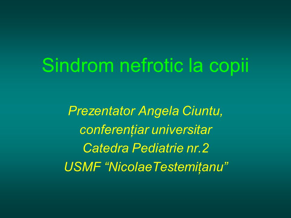 Sindrom nefrotic la copii