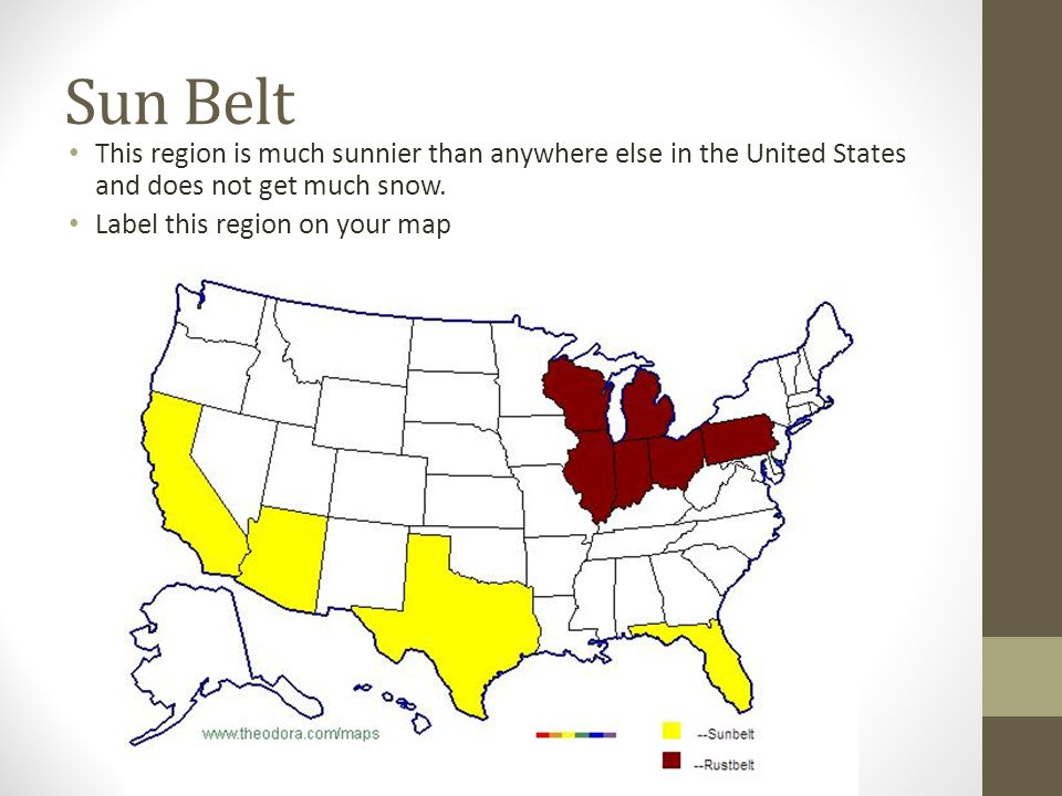 Regions Of The United States Ppt Video Online Download - Us sunbelt map