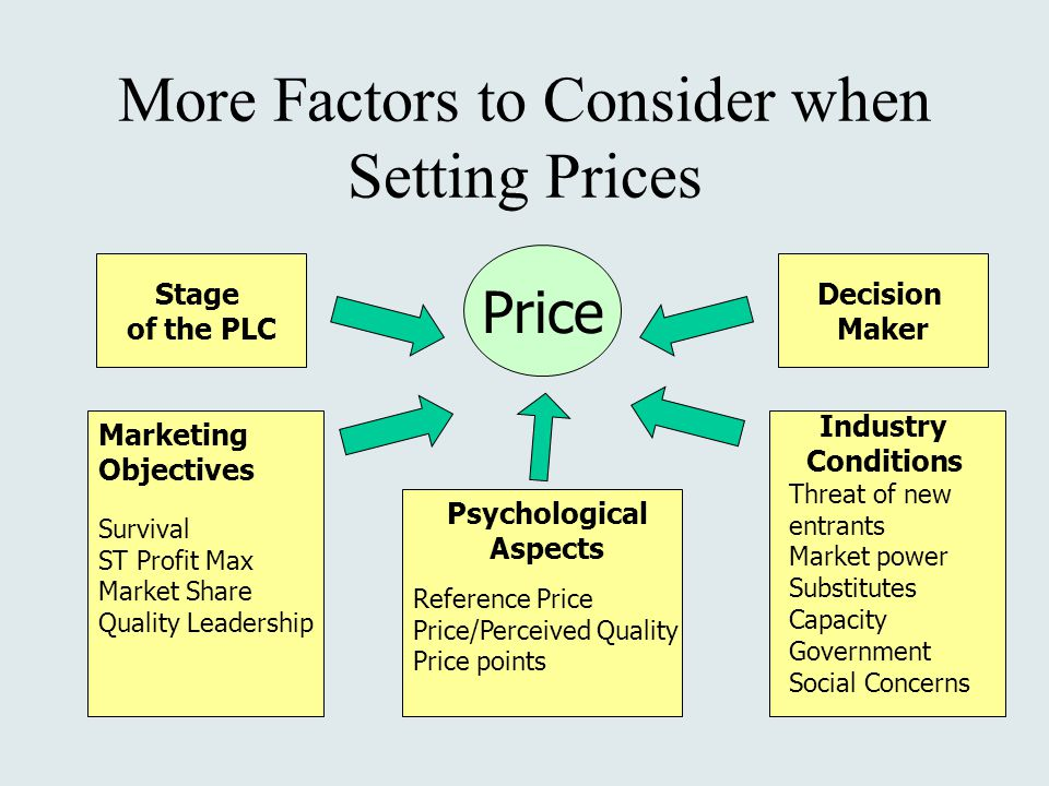 More Factors to Consider when Setting Prices