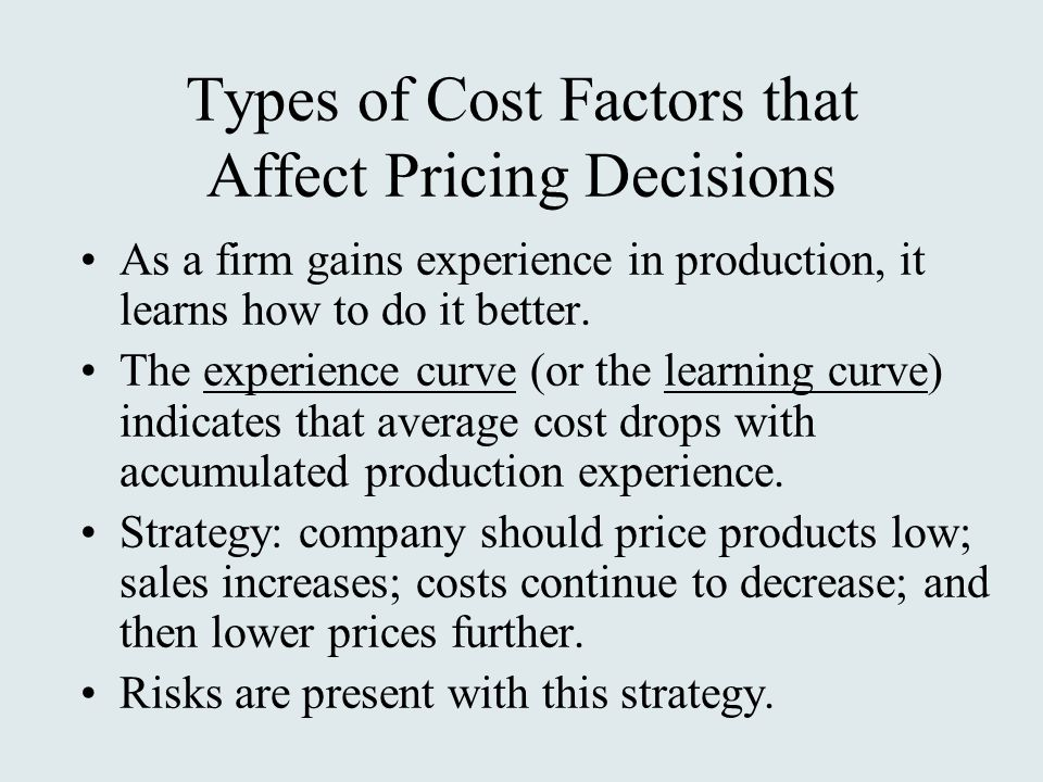 Types of Cost Factors that Affect Pricing Decisions