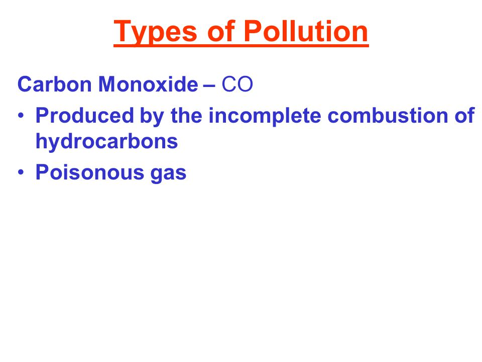 Types of Pollution Carbon Monoxide – CO