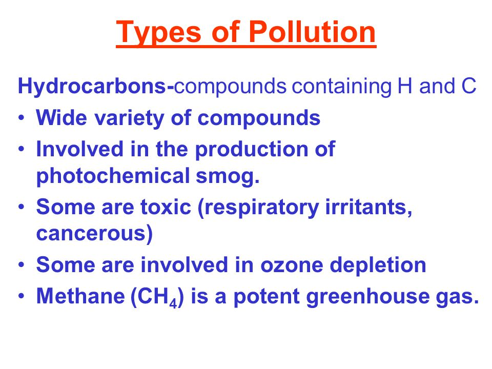 Types of Pollution Hydrocarbons-compounds containing H and C