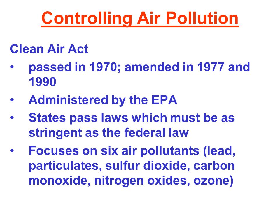 Controlling Air Pollution